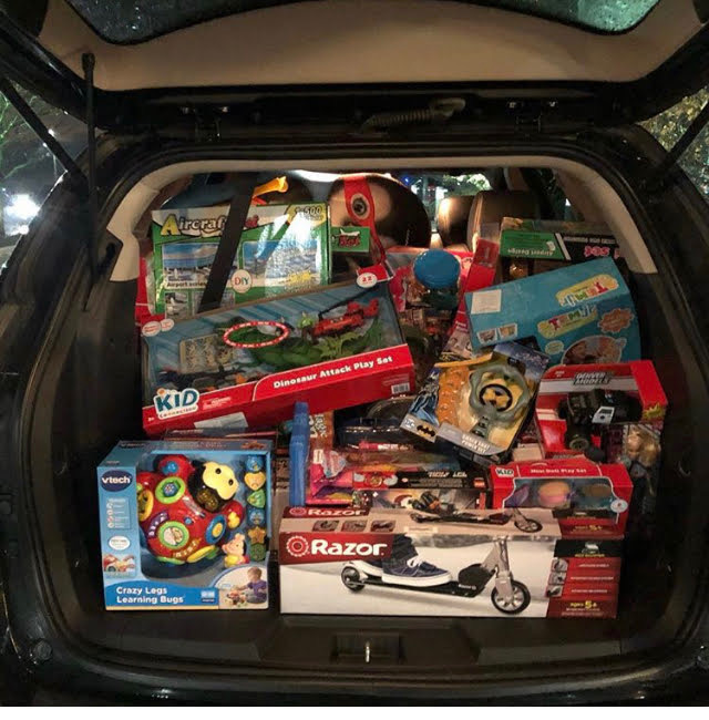 The back of Local 731 Member and Steward Jason Haynes' car, filled to the brim with gifts